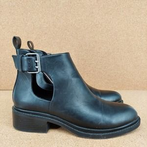Zara Womens Buckle Cut Out Ankle Boots Size EU 39